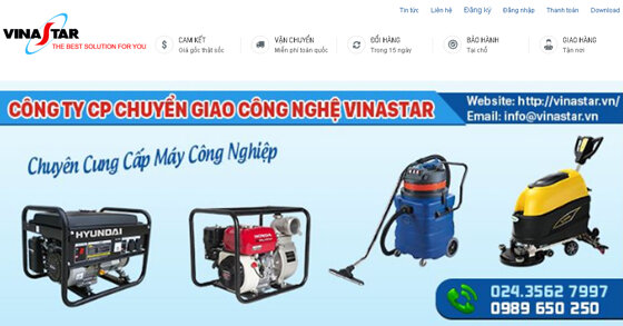 Vinastar - Chuyên cung cấp và tư vấn giải pháp máy móc thiết bị ngành chế biến thực phẩm, công nghiệp, nông nghiệp, xây dựng dân dụng và văn phòng hàng đầu Hà Nội