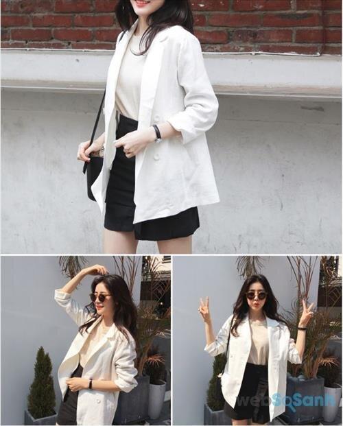Thật sự, có rất nhiều cách để bạn kết hợp váy ngắn + áo phông và áo khoác blazer. Đôi khi chỉ cần