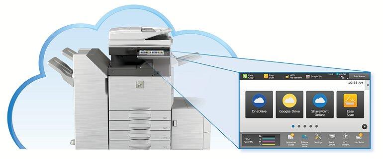 Lưu trữ đám mây của máy photocopy văn phòng kỹ thuật số.