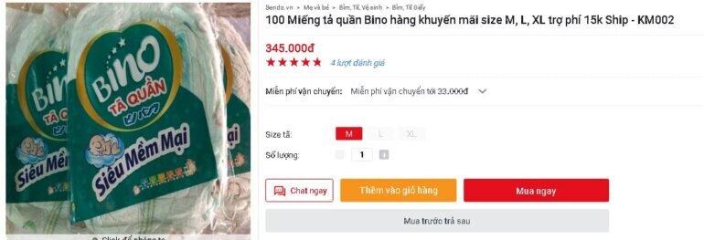 Mua 100 miếng tã quần Bino khuyến mãi giá tốt lại được trợ ship 15k