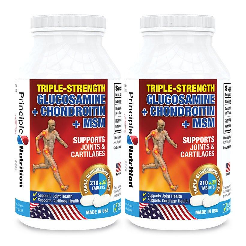Principle Nutrition Triple-Strength Glucosamine+Chondroitin+MSM