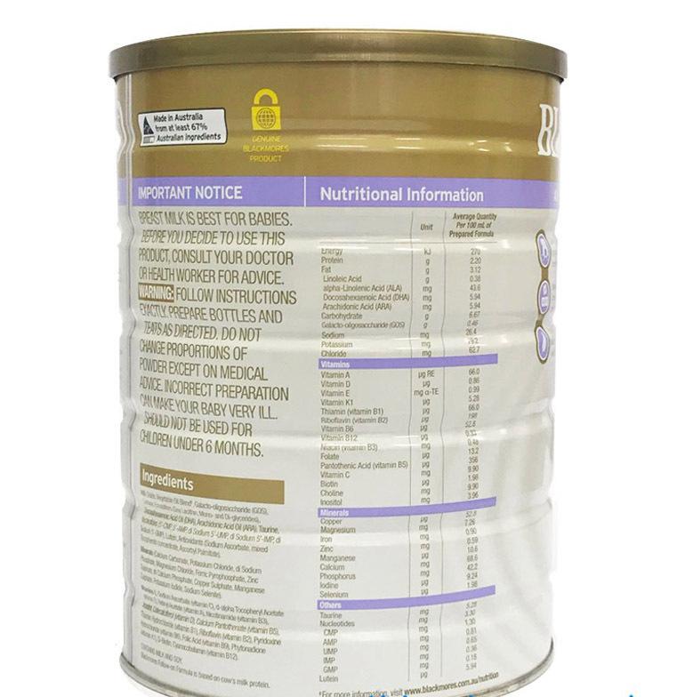Thành phần dinh dưỡng có trong sữaBlackmores số 2