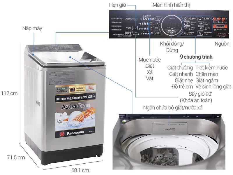 Máy giặt cửa trên Panasonic NA-FS16V7SRV