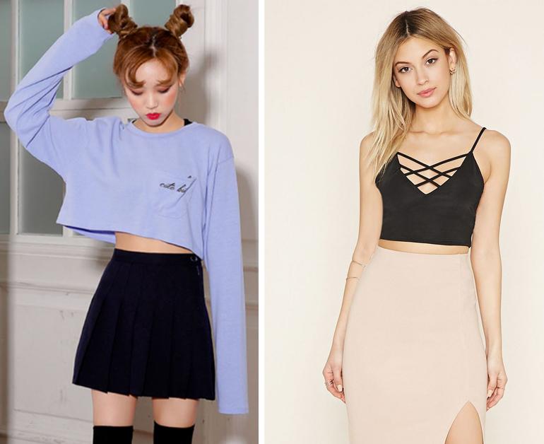 Áo crop top + quần/váy cạp cao