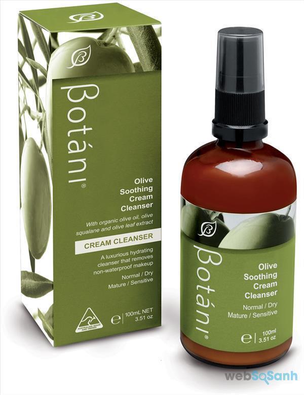 sữa rửa mặt dịu nhẹ Botani olive soothing cleanser review