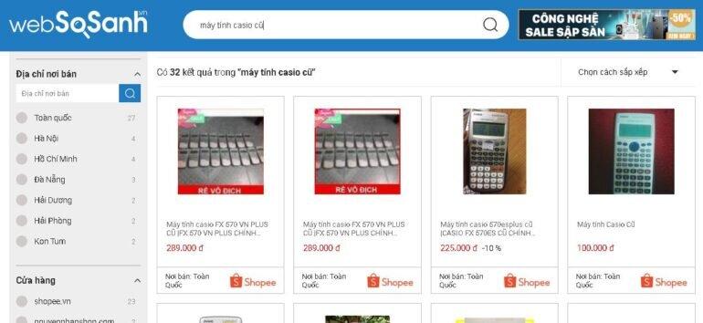 Sử dụng Websosanh.vn để tìm nơi bánmáy tính Casio cũ