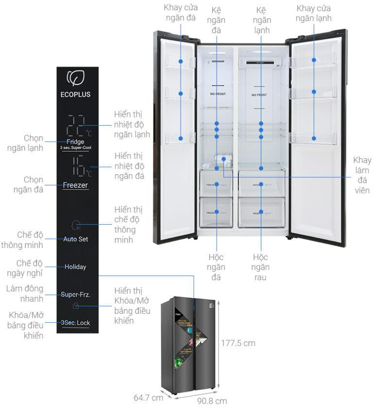 Thiết kế tủ lạnh Aqua Side by Side 541 lít AQR-S541XA(BL) sang trọng với mặt thép kháng khuẩn và dung tích lớn