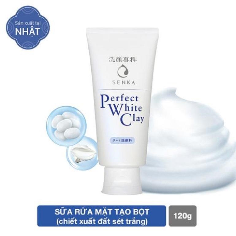 Sữa rửa mặt tẩy tế bào chết dưỡng trắng sáng da Senka Perfect White Clay