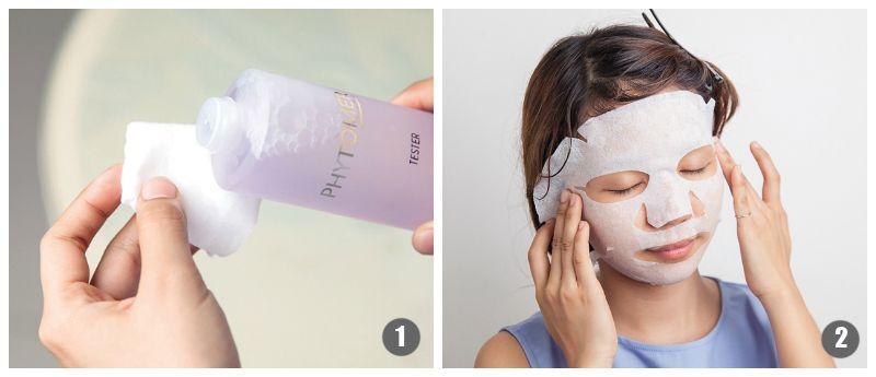 Bạn cũng có thể dùng lotion/toner để đắp mặt nạ bằng cách thấm vào mặt nạ giấy hoặc bông tẩy trang