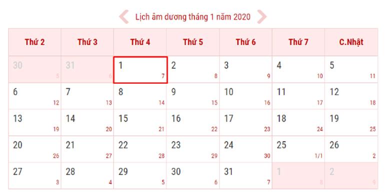 Tết dương lịch 2020 rơi vào thứ 4 ngày giữa tuần