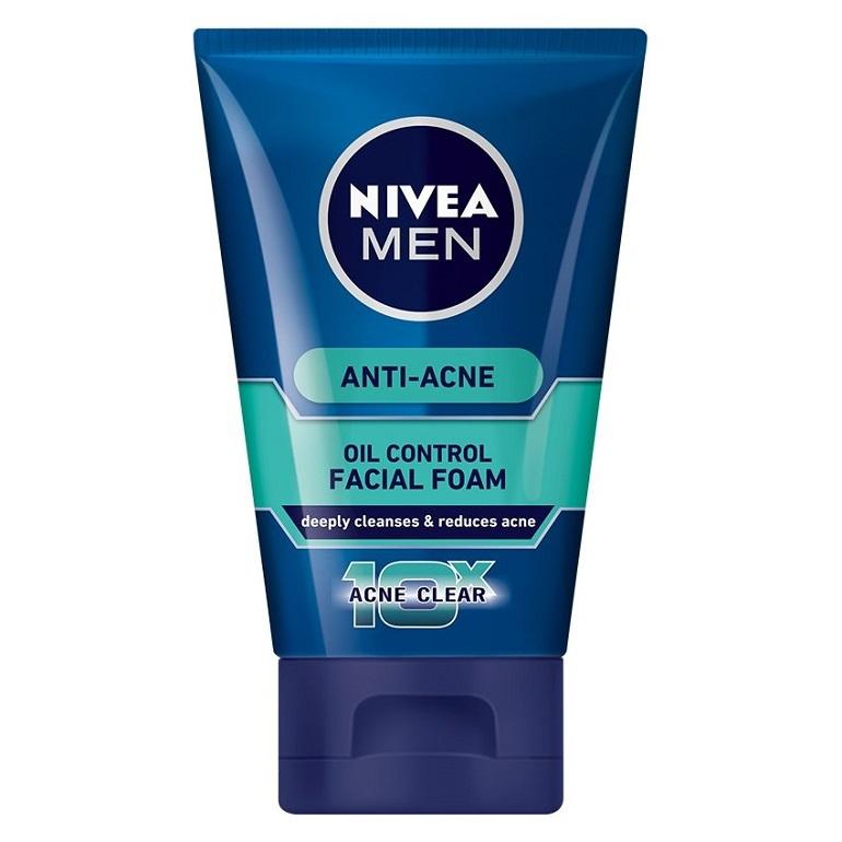 Sữa rửa mặt trị mụn cho nam Nivea Men 10X Acne Clear Cooling Mud Face Wash