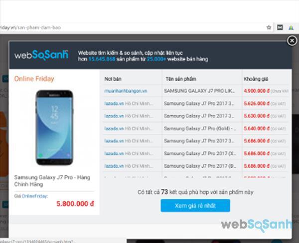 """Bấm vào nút """"Xem giá rẻ nhất"""" để biết giá rẻ nhất của sản phẩm cần so sánh giá"""