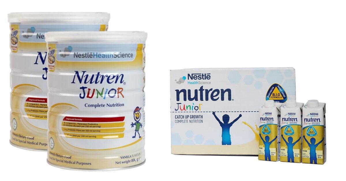 Review sữa Nutren Junior có tăng cân không, có mấy loại, công dụng, giá bán, mua ở đâu đảm bảo chất lượng?