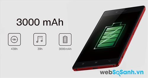 Smartphone Lenovo Vibe Shot sở hữu pin Li-ion không thể tháo rời dung lượng 3000 mAh