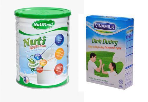 Sữa bột nguyên kem Nuti và Vinamilk Dinh Dưỡng
