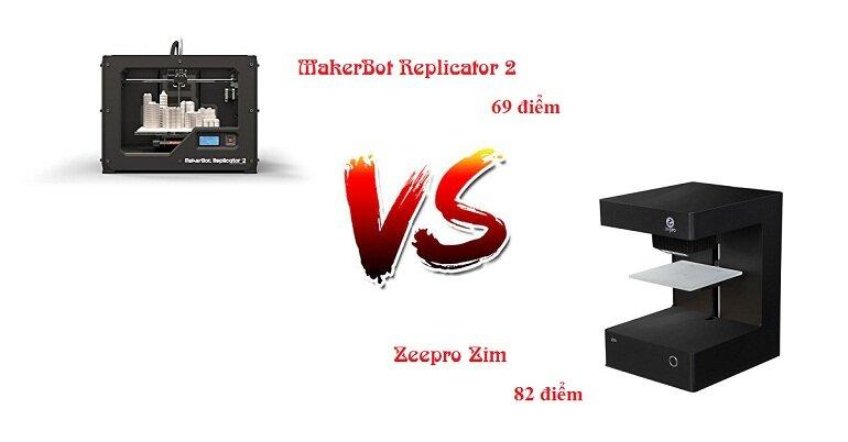Điểm đánh giá của máy in 3D MakerBot Replicator 2 và máy in 3D Zeepro Zim