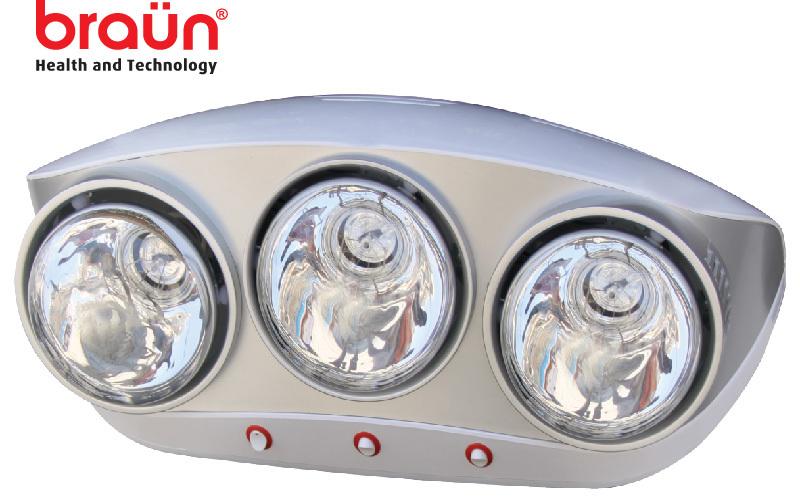 Đèn sưởi nhà tắm Braun BU03G (BU03-G) - 3 bóng vàng