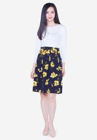 Chân váy xòe The One Fashion VDS1542HVA1 họa tiết hoa lá