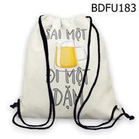 Balo rút in chữ Sai một ly đi một dặm BDFU183