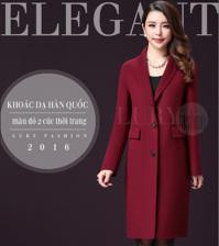 Áo khoác dạ Hàn Quốc dáng dài màu đỏ 2 cúc thời trang TA315