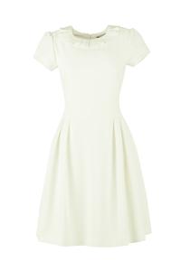 Đầm công sở tay ngắn phối cổ xếp ly thời trang - KK49-09