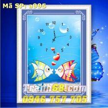 Tranh thêu đồng hồ con cá - DLH-YA995