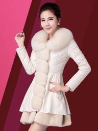 Áo khoác dạ dáng dài đính lông chồn AKDLA0001