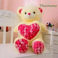 Gấu ôm tim hoa hồng