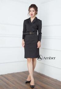 Váy ôm đen sọc có đai thanh lịch Amber 260237
