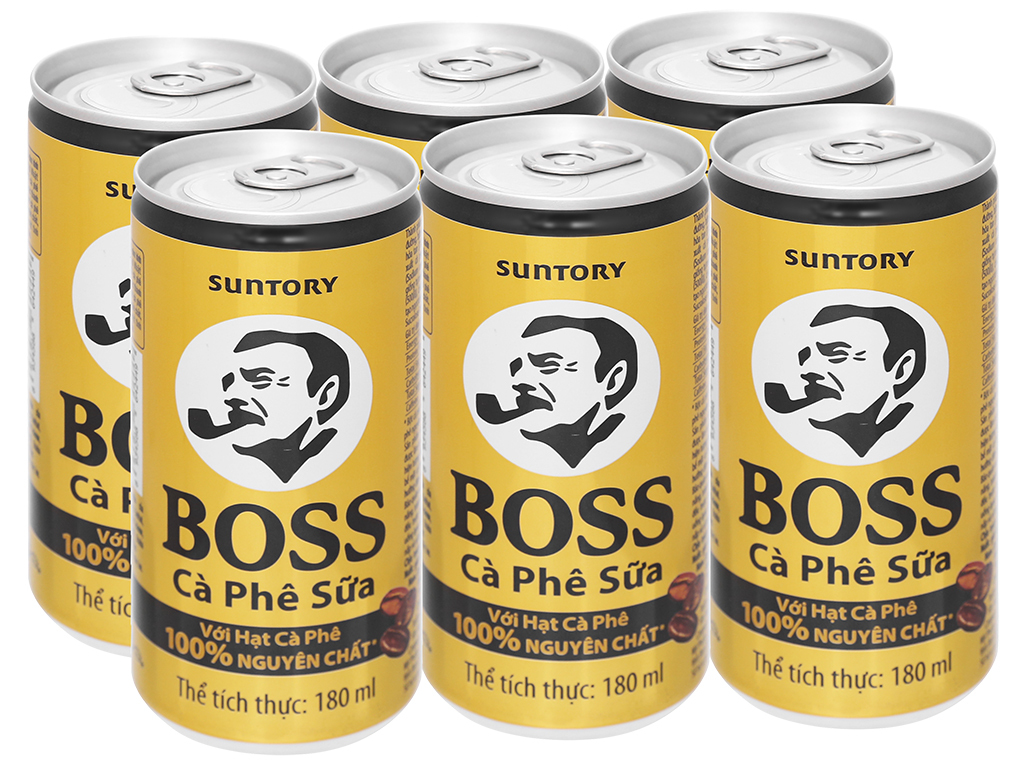 6 lon cà phê sữa Boss 180ml