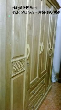Tủ quần áo gỗ Sồi Nga 4 buồng MS009