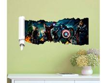 Decal dán tường biệt đội siêu anh hùng tạo cảm giác 3D