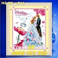 Tranh thêu chữ thập đám cưới- DLH-YA711