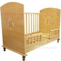 Giường cũi em bé màu gỗ Teddy (nội địa)