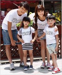 Bộ đồng phục gia đình có đầm áo thun in GREEN mẹ và bé