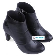 Giày boot nữ Huy hoàng da bò màu đen HH7036