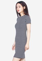 Đầm Ngắn Tay Dáng Suông Kẻ Sọc SoYoung DRESS 0058