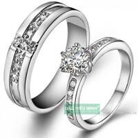 Nhẫn đôi Bạc Hiểu Minh NC389 - Yêu anh nhé