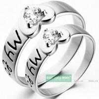 Nhẫn đôi Bạc Hiểu Minh NC203 - Tình yêu của tôi