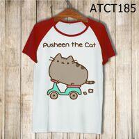 Áo phông trắng tay màu in hình mèo Pusheen ATCT185