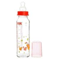 Bình sữa cổ hẹp thủy tinh núm silicone Nuk 250ml