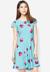 Đầm xòe Hoàng Khanh Fashion họa tiết Cherry xanh da trời