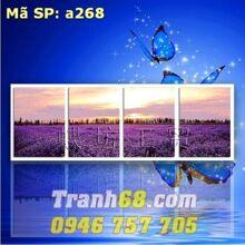 Tranh thêu chữ thập hoa oải hương - DLH-YA268