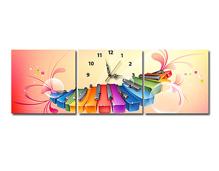 Tranh đồng hồ Suemall hình đan Piano sắc màu