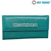 Ví nữ da bò cao cấp Huy Hoàng 3 gấp màu xanh CS3130 (HH3130)