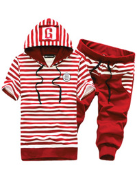 Bộ quần áo thể thao phối sọc đỏ nổi bật BN075
