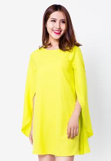 Đầm suông Hoàng Khanh Fashion tay cánh dơi màu xanh neon