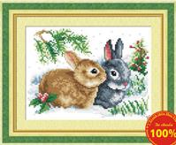 Tranh thêu chữ thập đôi thỏ như ý-yd230
