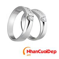 Nhẫn cưới vàng trắng NCD 2106