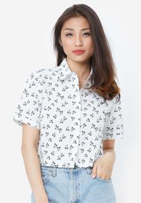Áo crop top NT Fashion cổ sơ mi màu trắng phối họa tiết cái nơ